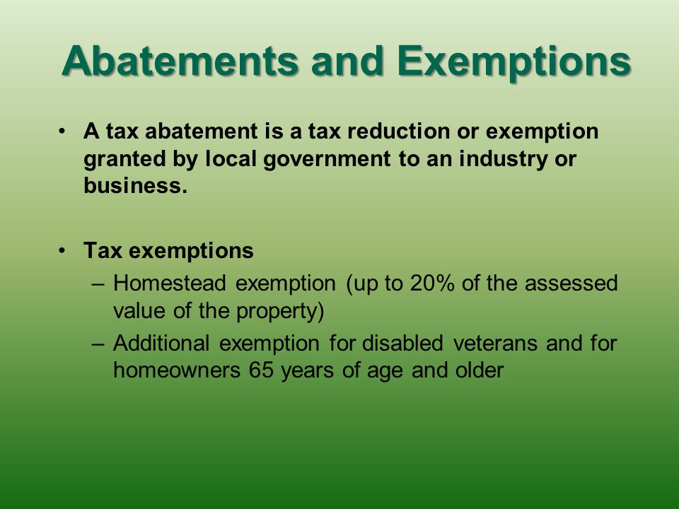 Abatements and Exemptions