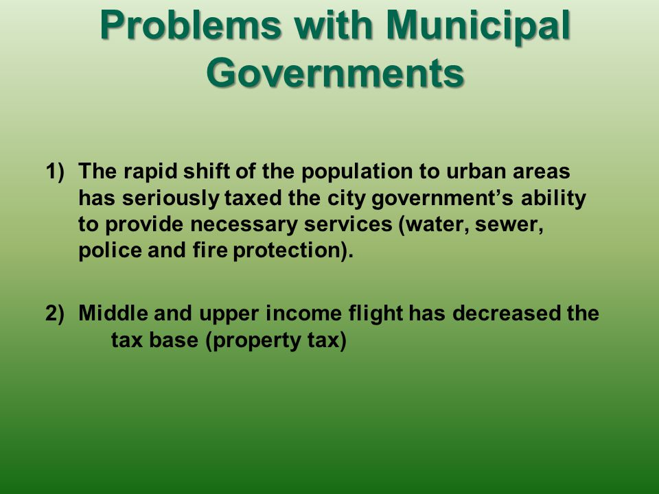 Problems with Municipal Governments