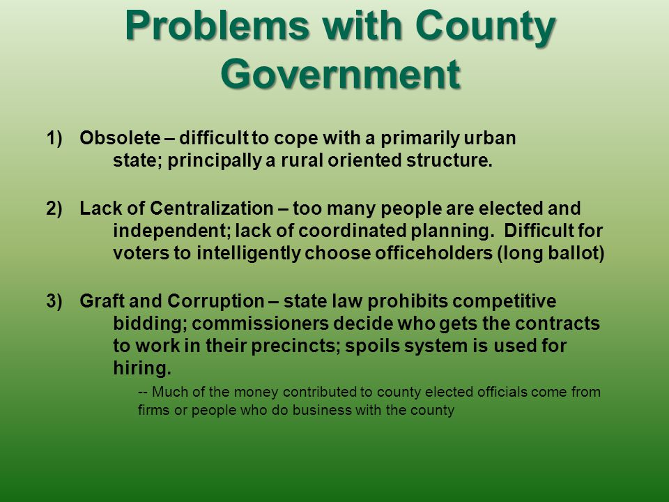 Problems with County Government