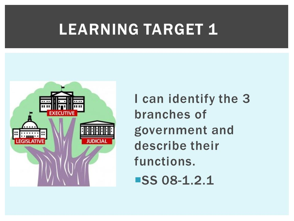 Learning Target 1 I can identify the 3 branches of government and describe their functions.