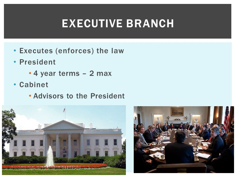 Executive Branch Executes (enforces) the law President