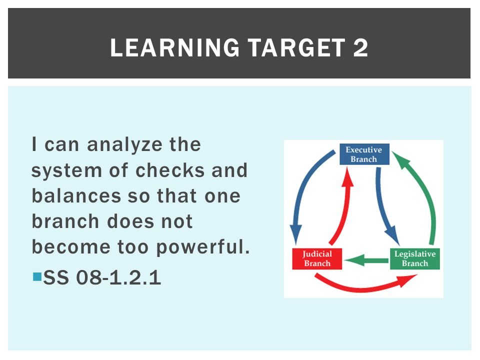 Learning Target 2 I can analyze the system of checks and balances so that one branch does not become too powerful.