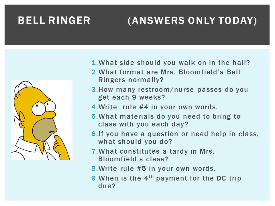 Bell Ringer (Answers only today)