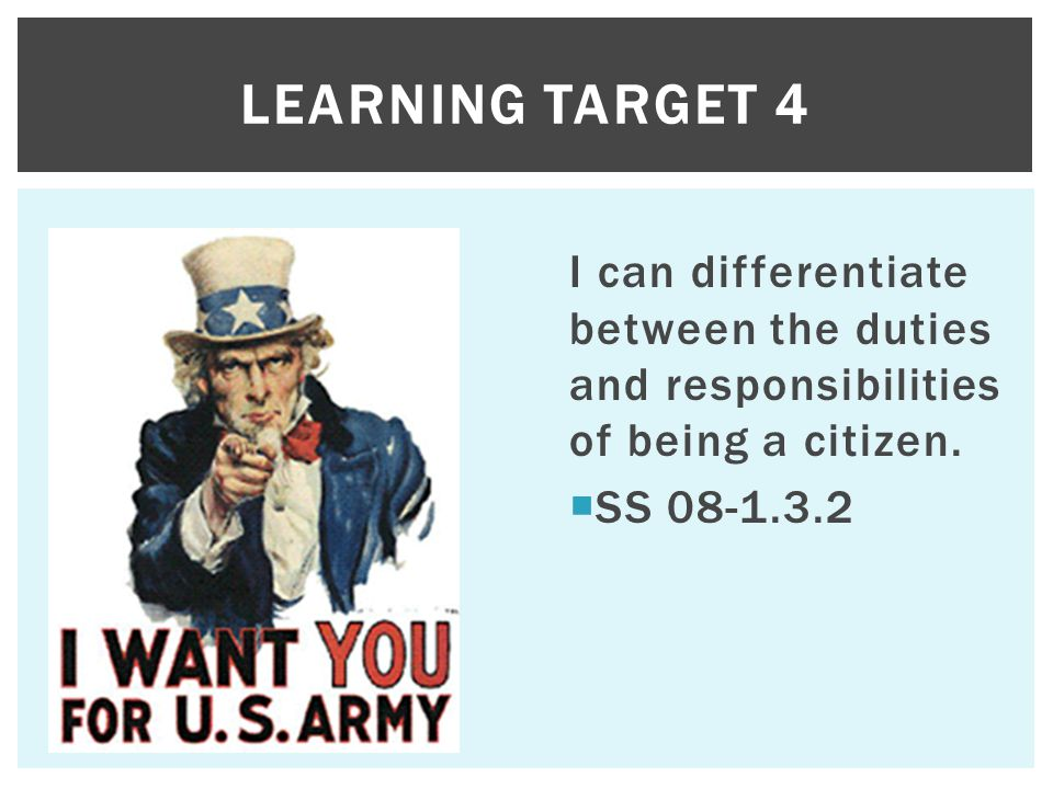 Learning target 4 I can differentiate between the duties and responsibilities of being a citizen.