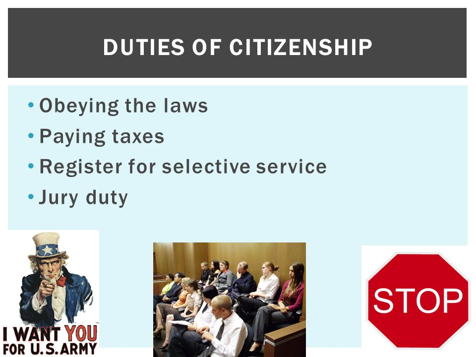 Duties of citizenship Obeying the laws Paying taxes