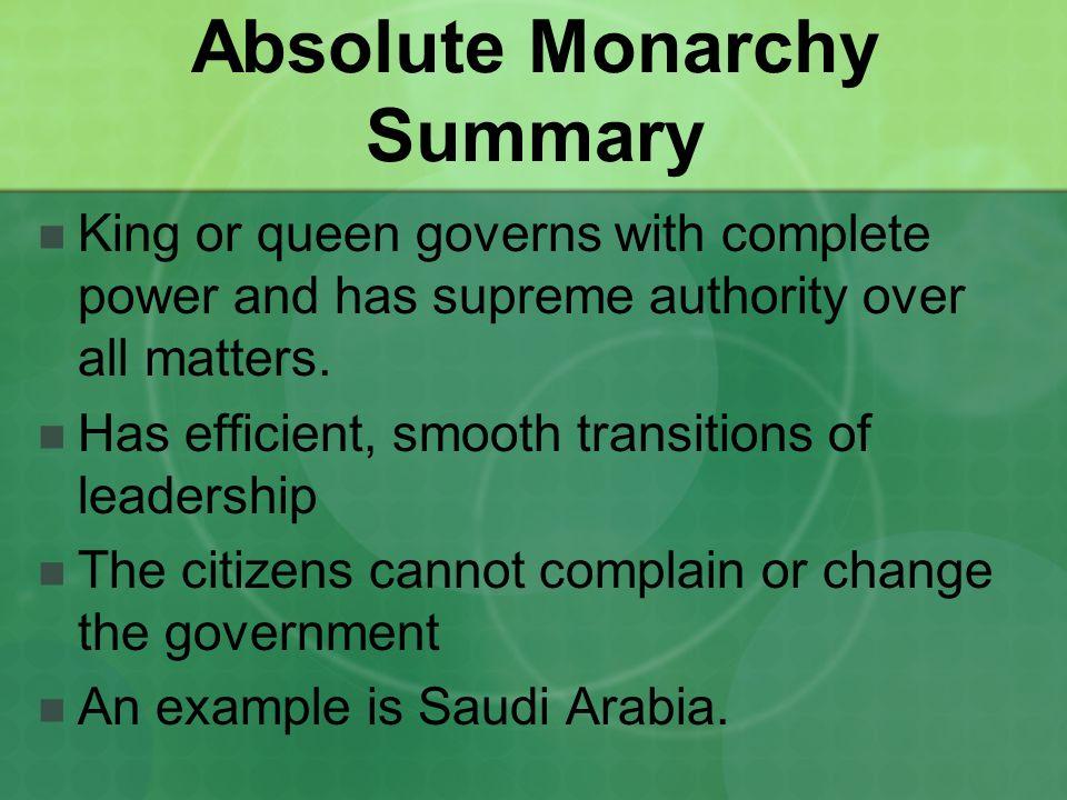 Absolute Monarchy Summary
