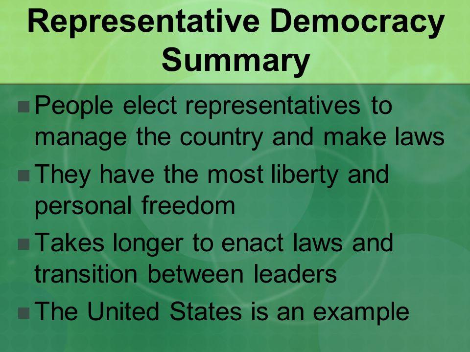Representative Democracy Summary