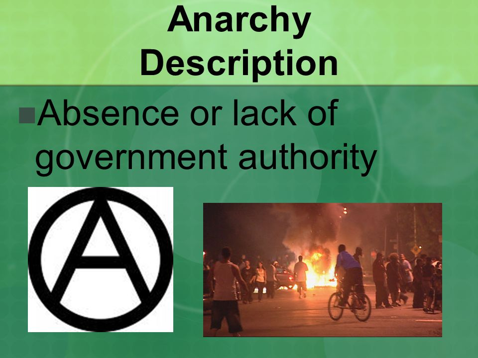 Anarchy Description Absence or lack of government authority