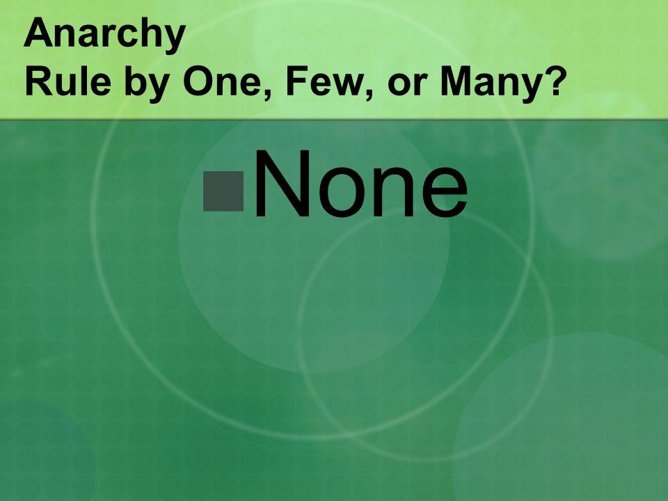 Anarchy Rule by One, Few, or Many