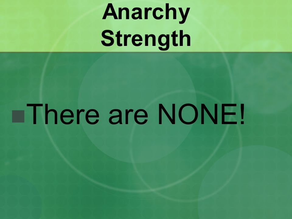 Anarchy Strength There are NONE!