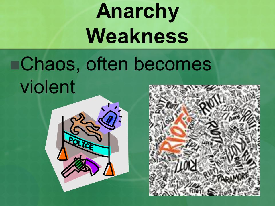 Anarchy Weakness Chaos, often becomes violent