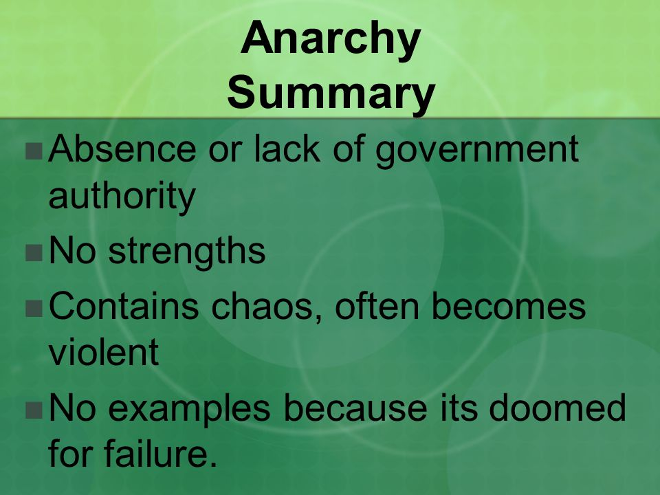Anarchy Summary Absence or lack of government authority No strengths