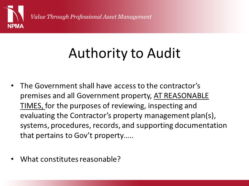 Authority to Audit