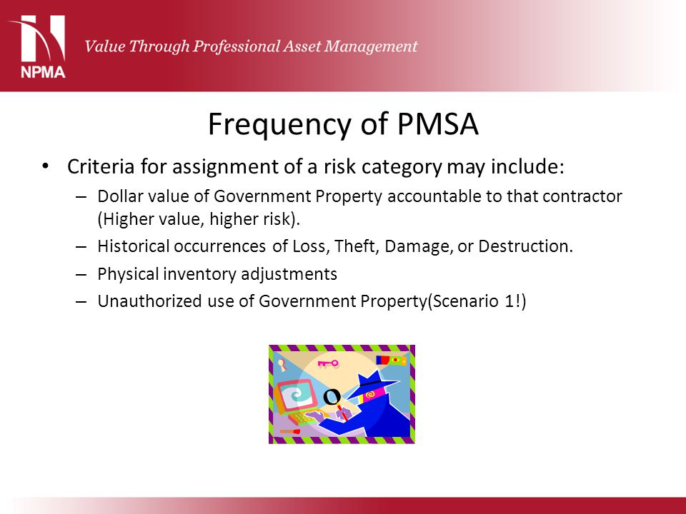 Frequency of PMSA Criteria for assignment of a risk category may include: