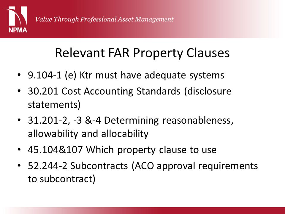 Relevant FAR Property Clauses