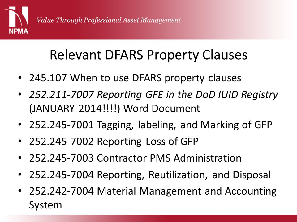 Relevant DFARS Property Clauses