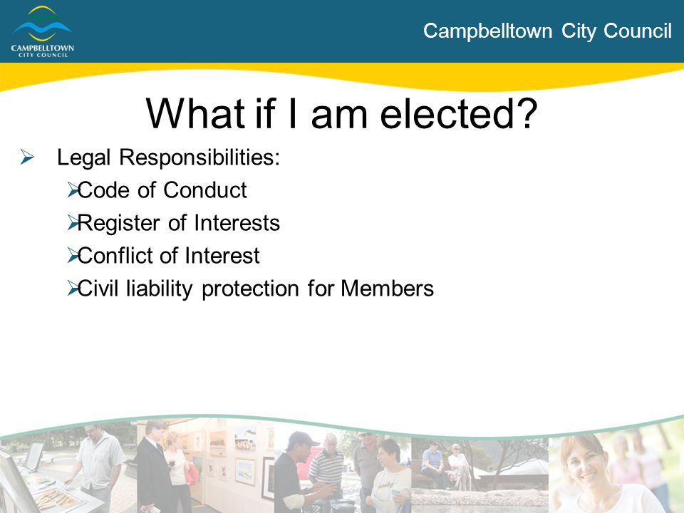 What if I am elected Legal Responsibilities: Code of Conduct