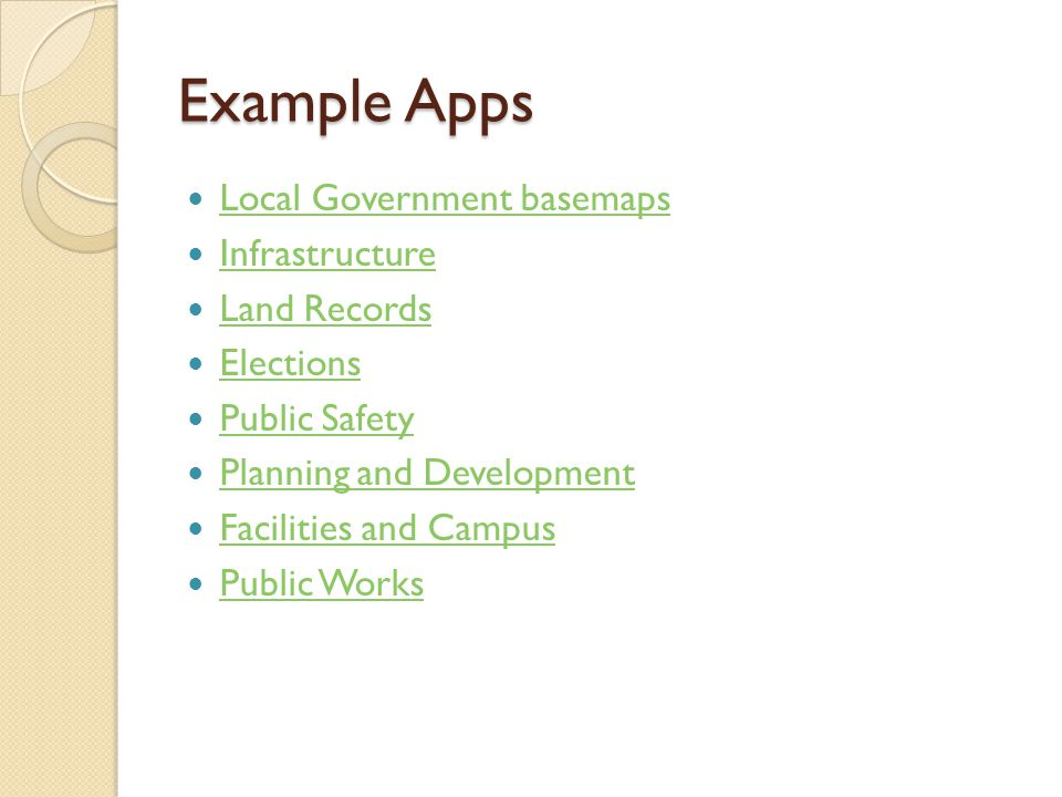 Example Apps Local Government basemaps Infrastructure Land Records