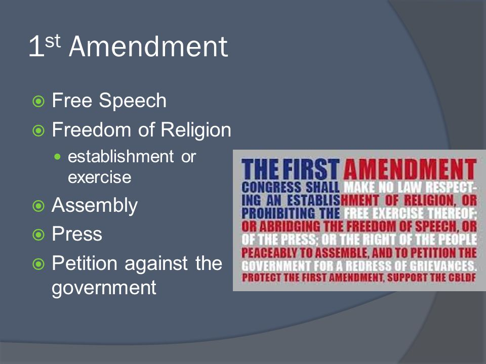 1st Amendment Free Speech Freedom of Religion Assembly Press