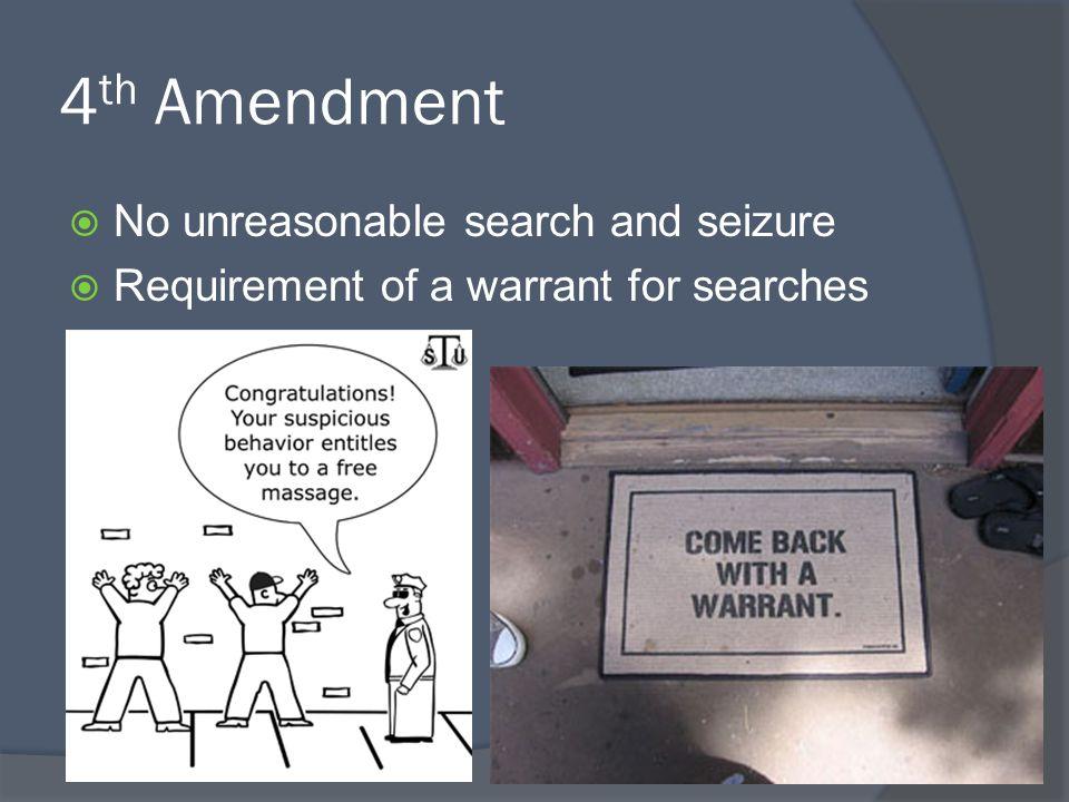 4th Amendment No unreasonable search and seizure