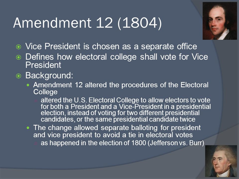 Amendment 12 (1804) Vice President is chosen as a separate office