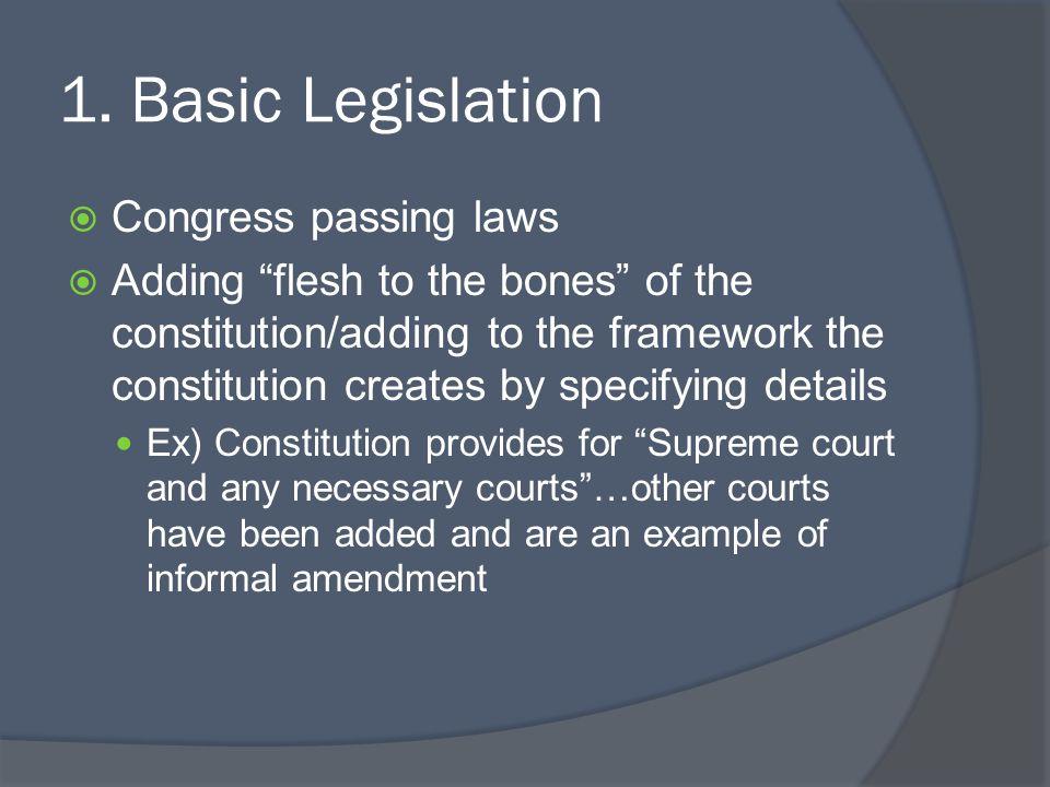 1. Basic Legislation Congress passing laws