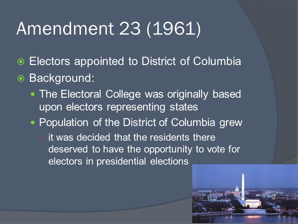 Amendment 23 (1961) Electors appointed to District of Columbia