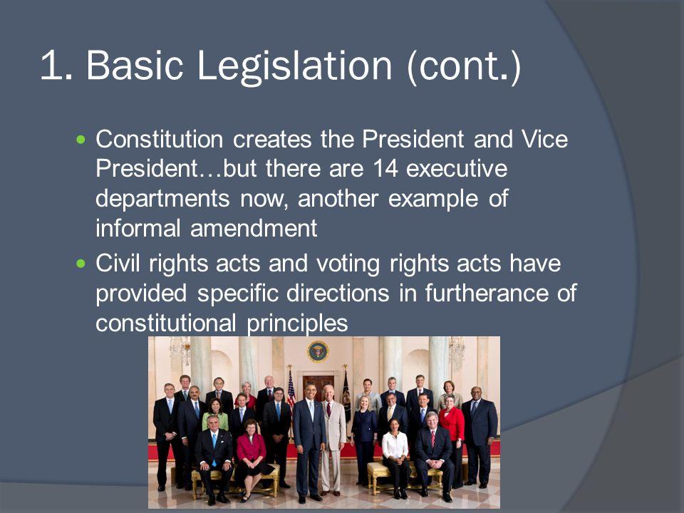 1. Basic Legislation (cont.)