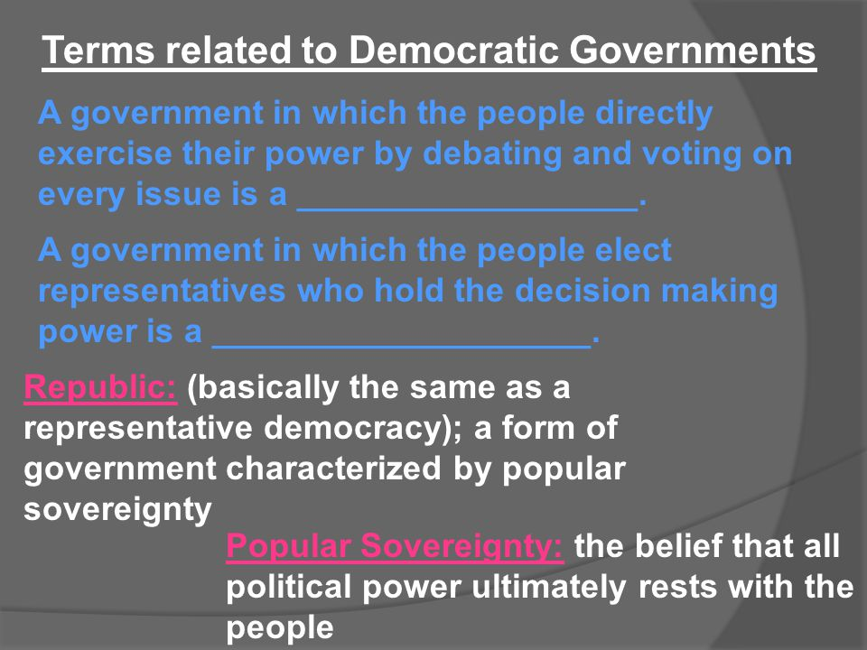 Terms related to Democratic Governments