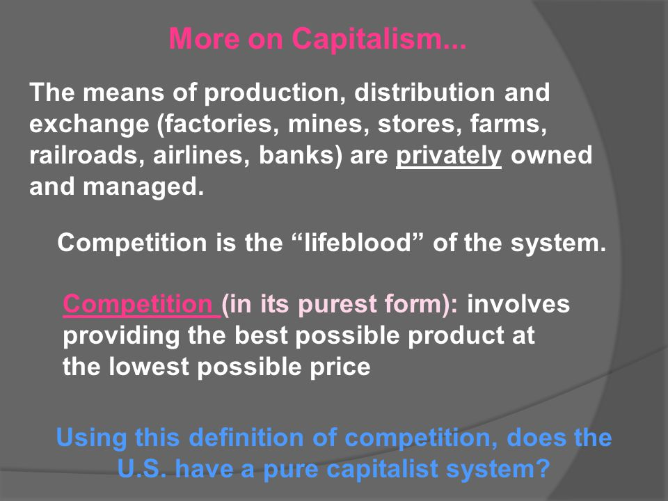 More on Capitalism...