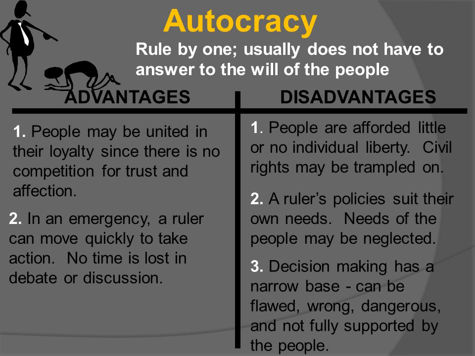 Autocracy ADVANTAGES DISADVANTAGES