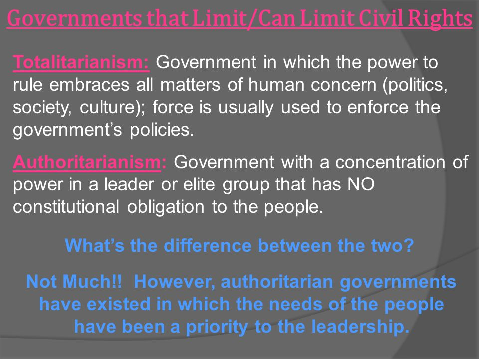 Governments that Limit/Can Limit Civil Rights