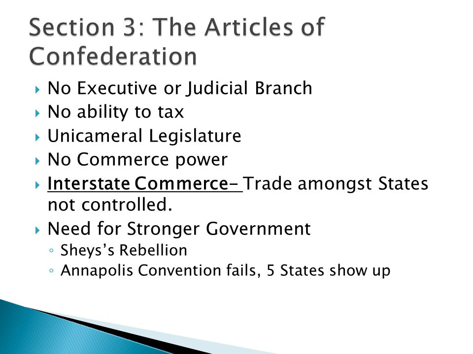 Section 3: The Articles of Confederation