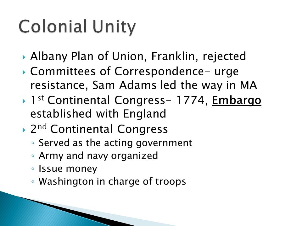 Colonial Unity Albany Plan of Union, Franklin, rejected