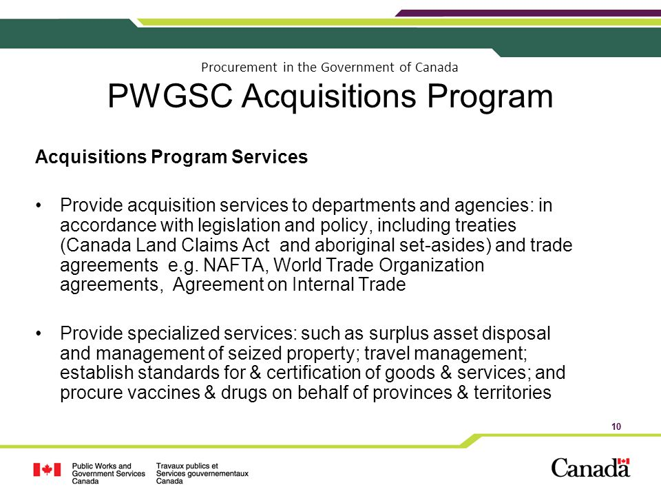 Procurement in the Government of Canada PWGSC Acquisitions Program