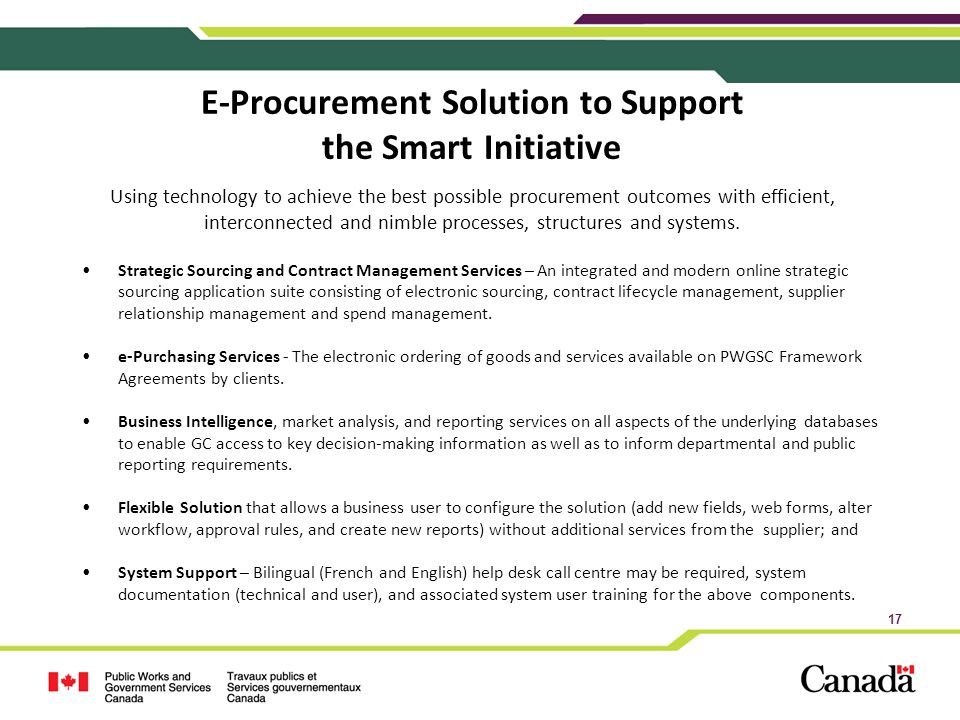 E-Procurement Solution to Support the Smart Initiative