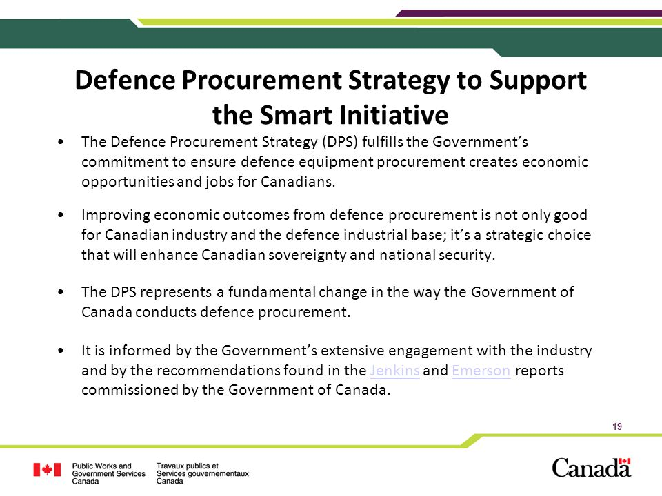 Defence Procurement Strategy to Support the Smart Initiative
