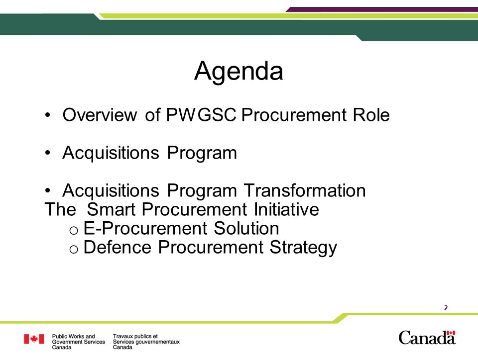 Agenda Overview of PWGSC Procurement Role Acquisitions Program
