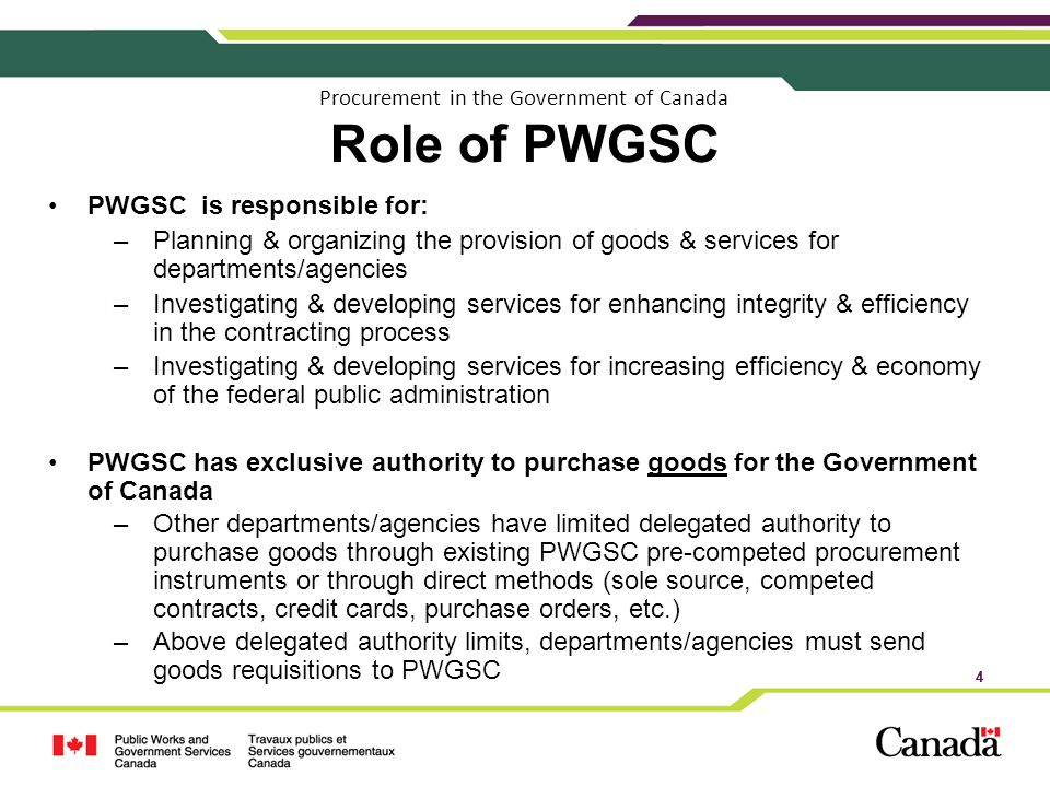 Procurement in the Government of Canada Role of PWGSC