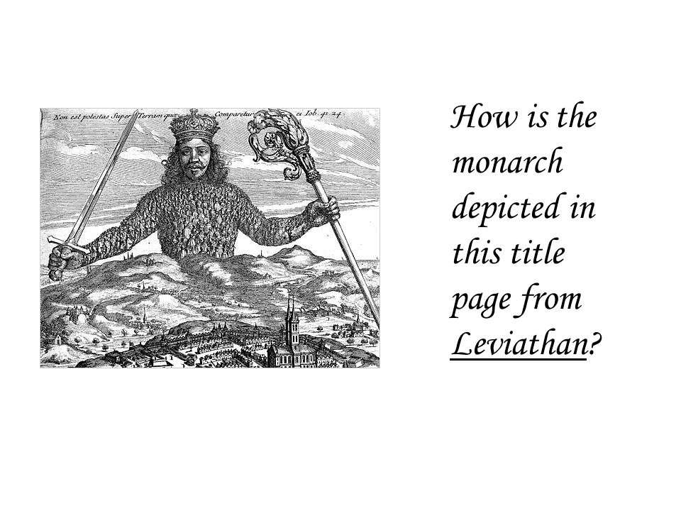 How is the monarch depicted in this title page from Leviathan