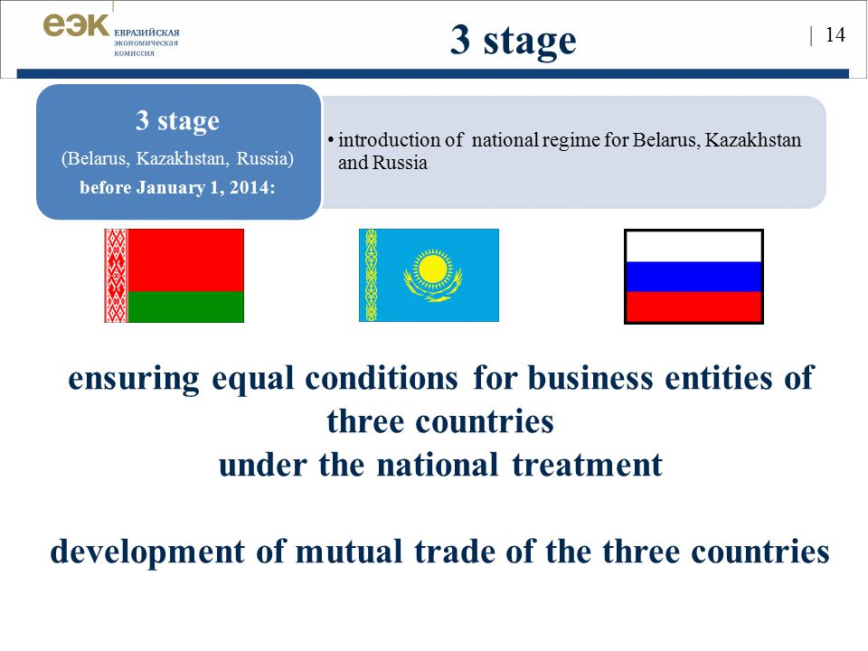 3 stage ensuring equal conditions for business entities of three countries. under the national treatment.