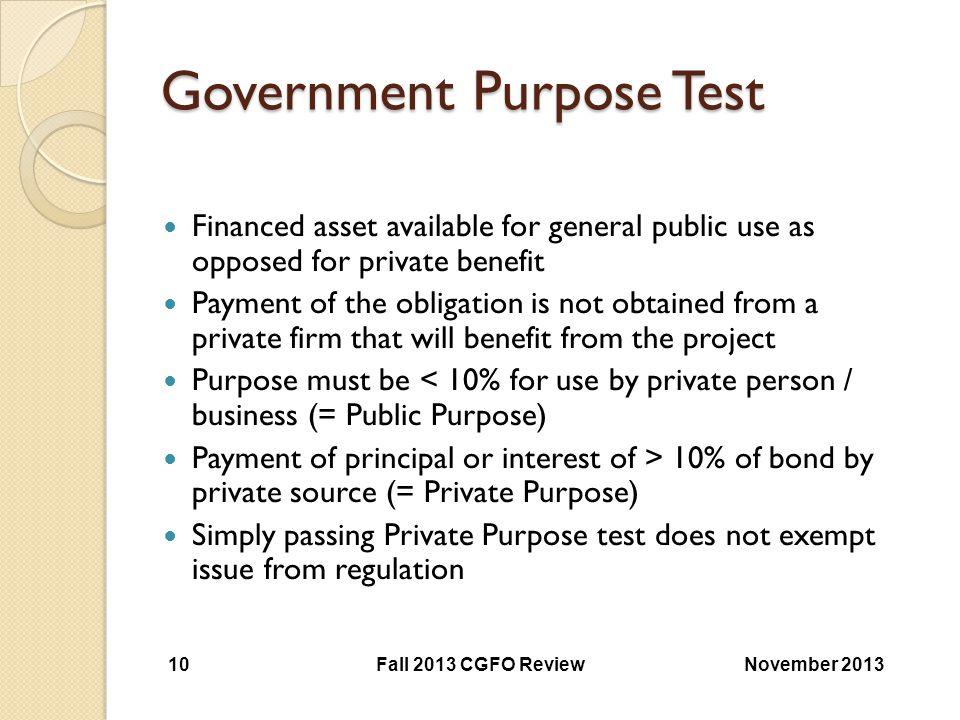 Government Purpose Test