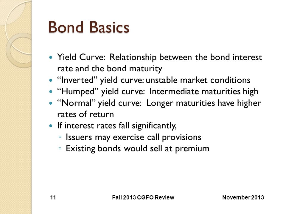 Bond Basics Yield Curve: Relationship between the bond interest rate and the bond maturity. Inverted yield curve: unstable market conditions.