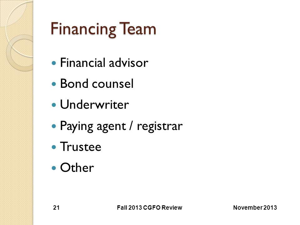 Financing Team Financial advisor Bond counsel Underwriter