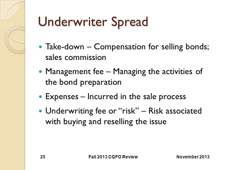 Underwriter Spread Take-down – Compensation for selling bonds; sales commission.