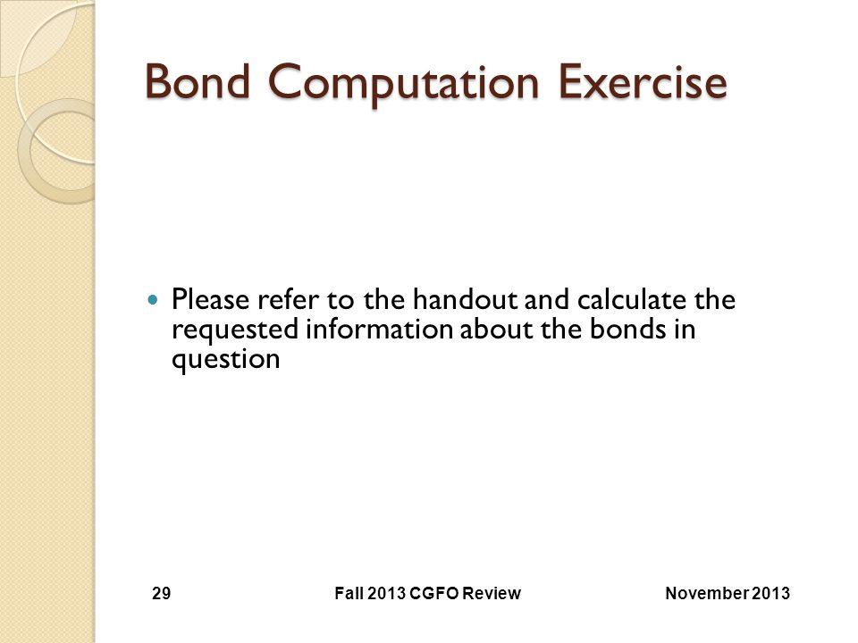 Bond Computation Exercise