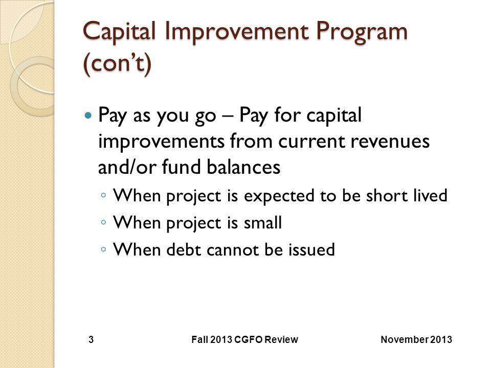 Capital Improvement Program (con't)