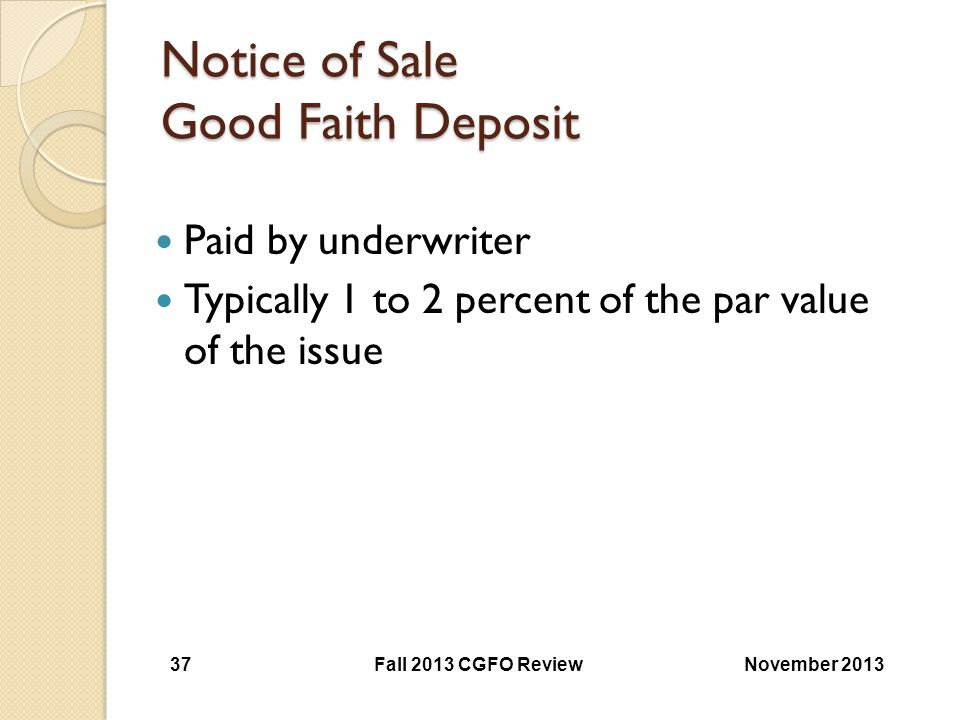 Notice of Sale Good Faith Deposit