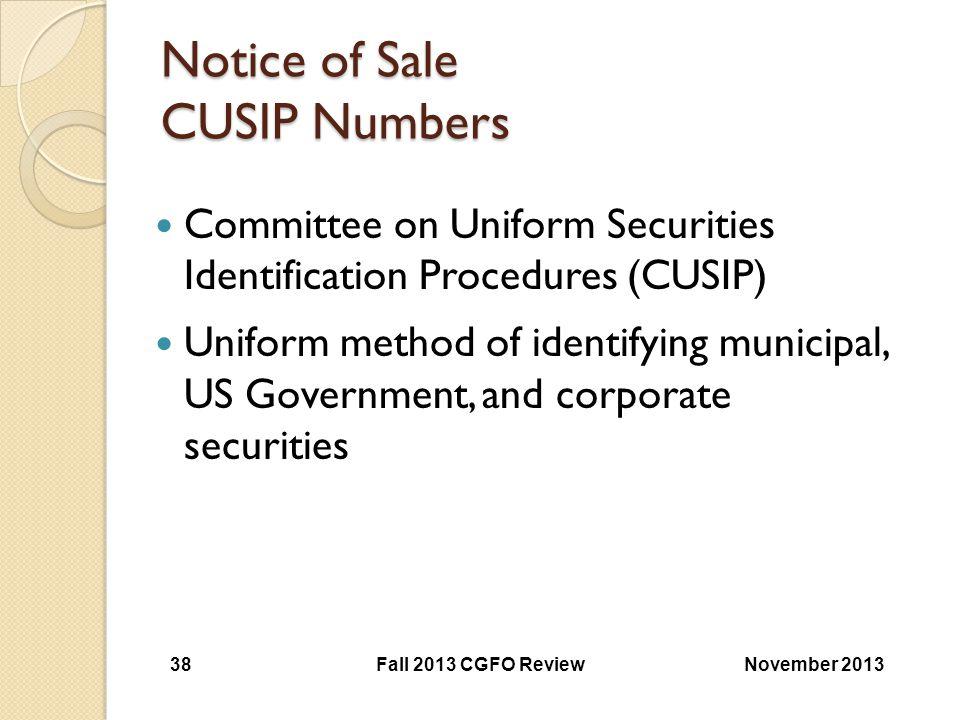 Notice of Sale CUSIP Numbers