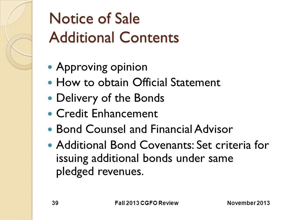 Notice of Sale Additional Contents